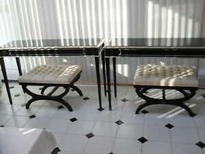 Pair of Lacquer Black and Silver Gilt Consoles with Benches Curule Gio Ponti