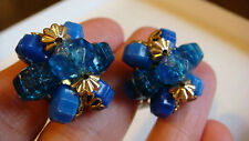VINTAGE CLIP ON EARRINGS WESTERN GERMANY ROYAL BLUE BEADS CLUSTER MARKED ESTATE