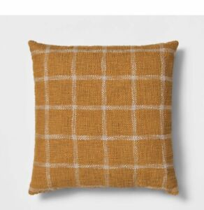 New 20 X 20 Threshold Square Woven Yellow Gold Grid Plaid Toss Throw Pillow