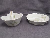 HAVILAND LIMOGES PORCELAIN MARGAUX PATTERN SMALL BASKET With Tray!