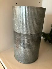 "10"" Galvanized French Flower Bucket - POTTERY BARN  VASE Corrugated steel NWT"