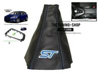 6 Speed Gear Gaiter Frame For Ford Focus MK3 FL 2015-18 Leather Blue Embroidery