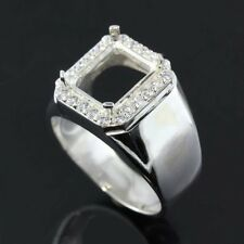 8x10 Emerald cut semi-mount CZ Men ring sterling silver 925#382