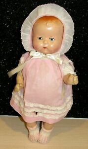 """Antique 1930s composition adorable baby doll unmarked 13.5"""" Painted Face LOVELY"""