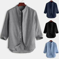 Men Collarless Grandad Shirt 1/4 Sleeve Summer Stripe Hippie Casual Tops Blouse