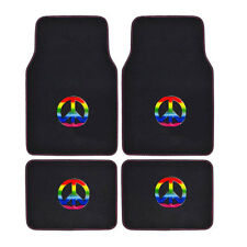 New Multi-Color Peace Sign Rainbow Car Truck Front & Back Carpet Floor Mats