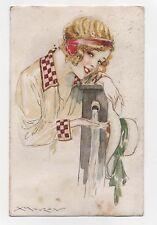 Cartolina Luciano MAUZAN viaggiata 1918 Postcard italian art deco