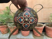 Old Antique Brass Hand Carved Painted Decorative Hanging Wall Shield Sword