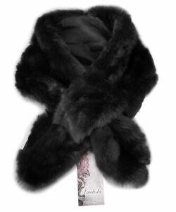 MADE IN ITALY - Luxury Black Faux Fur Scarf Wrap Shawl Collar Neck Warm Soft