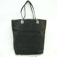 GUCCI GG Pattern Canvas Tote Bag Shoulder Purse Black 002 1098 027105