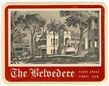 Hotel The Belvedere SYDNEY NSW Australia * Old Luggage Label Kofferaufkleber