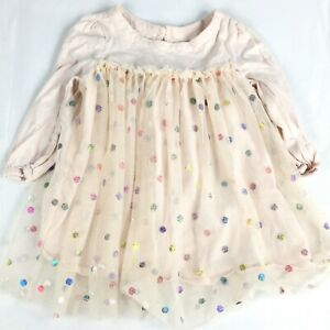 Gap Baby Girls Pink Multicolor Polka Dot Long Sleeve Tutu Dress Sz 18 24M