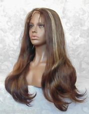 "1.5"" Lace Front Long Straight Brown/Blonde Heat Resistant Synthetic Wig - CM6"