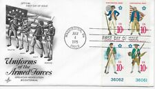 US Scott #1565-68, First Day Cover 7/4/75 Washington Plate Block Armed Forces
