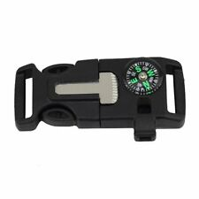 Buckle Whistle Compass Flint Fire Starter Scaper for Paracord Bracelet Camping