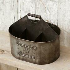 Country Living distressed tin Divided storage tin with handle