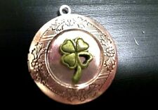 """IRISH LUCK 4 LEAF CLOVER Photo Locket silver on sterling 18"""" chain necklace"""