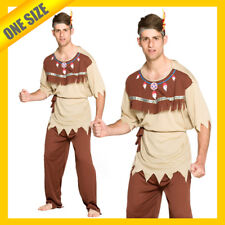 HT Mens Costume Fancy Dress Native Indian Chief Brave Warrior