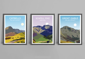 The Lake District Fells Set Of 3 Art Prints - Scafell Pike, Catbells,Great Gable