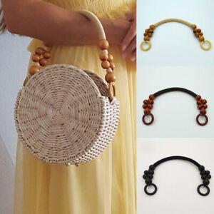 Bag Strap Wooden Bead Rope Handle Shoulder Belt for Handbag DIY Replacements AUS
