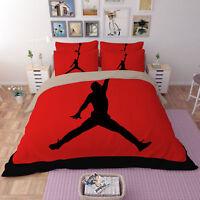 3D Sports Basketball Bedding Set Basketball Player Duvet Cover Pillowcase Red