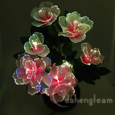 Peony Flower Color Changing Potted Fiber Optic Lamp Home Wedding Party Decor