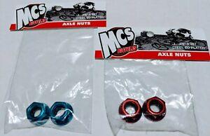 "MCS Steel Axle Nuts 3-8"" Blue & Red old school BMX Redline Haro GT Fixie Cruiser"