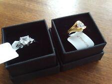 Swarovski & Silver/Gold Rings x 2 (Pair) Size O NEW/Unworn/BNWT/Boxed Ref:c-iii