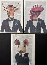 3X Cow Pig Chicken Print Vintage Dictionary Wall Art Pictures Animals In Clothes