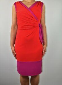 Coast Red Fuchsia Dress Pencil Stretch Holiday Wedding Spring Summer Size 10 AM