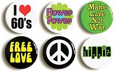 6 x SIXTIES HIPPIE BADGES BUTTONS (1inch/25mm diameter) FLOWER POWER FANCY DRESS
