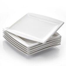 eckig Porzellan creme weiß 6 x Dessertteller Frühstücksteller