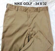 Nike Dri-Fit Mens 34X32 Golf Tech Performance Pants Flat Front  Tan color