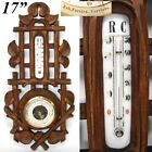 """Antique Victorian Era Black Forest Style 17 3/8"""" Wall Barometer & Thermometer"""