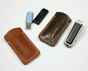 Leather flash drive holde, USB flash drive case brown, Leather flash drive case