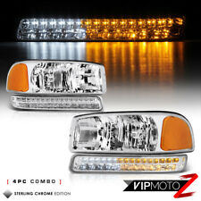 2000-2006 GMC Sierra Yukon Chrome Headlight Factory Replacement Bumper Lamps SET