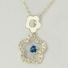 NATURAL SAPPHIRE & 25 DIAMOND GOLD PENDANT WITH 45CM SOLID GOLD NECKLACE CHAIN.
