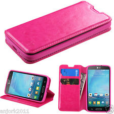 LG OPTIMUS L90 D415 WALLET FOLIO CASE W/ CARD SLOT FOLDED STAND COVER HOT PINK