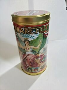 Amaretti Assortimento Italian metal cookie tin cylinder 10 inches tall