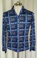 Vintage Long Sleeved Atomic MoD Hawaiian Shirt S Indigo Brown Floral Rayon?