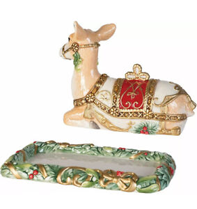 NEW NIB Fitz & Floyd Yuletide Christmas Holiday Covered Reindeer Covered Butter