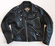 Genuine Harley Davidson USA Made Black Leather Motorcycle Jacket! Size M 42