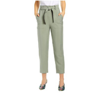 """Leith Women's Size Medium Green Vetiver Tie Front Pants 26"""" Inseam NEW"""