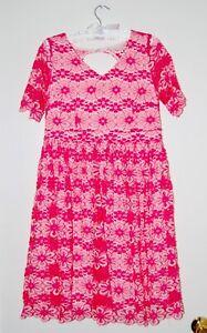 NWOT Motherhood Maternity Women's Pink Floral Lace V-Neck Cocktail Dress sz M