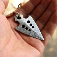 Vikingar Damascus Steel Arrow Arrowhead Pendant Necklace Self Defens EDC Tool