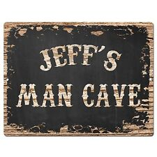 PP1868 JEFF'S MAN CAVE Plate Chic Sign Home Room Garage Decor Birthday Gift