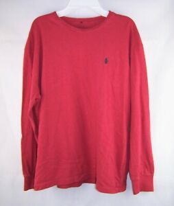 Mens POLO RALPH LAUREN solid red long sleeve t shirt M Medium gray logo horse