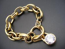 $115 Michael Kors CZ Clear Crystal Pendant Padlock Charm Goldtone Link Bracelet