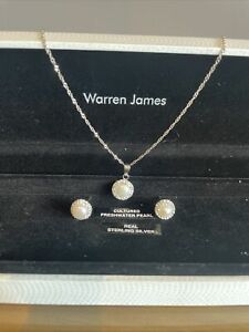 Warren James Cultured Freshwater Pearl Matching Set Of Earrings And Necklace
