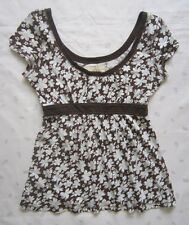 Hollister Cap Sleeves Empire Waist Floral Tunic - Brown - Size Large - EUC